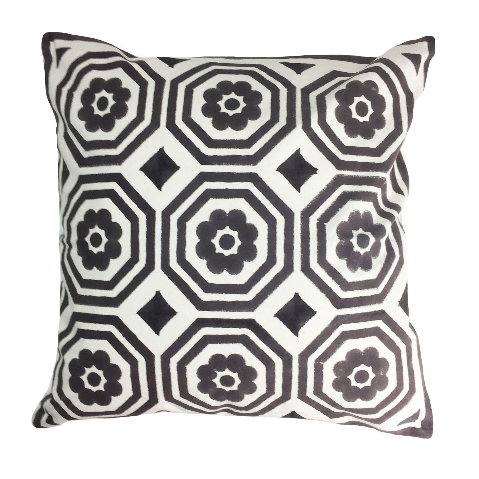 Contemporary mandir black and white cotton pillow chairish