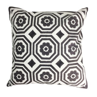 Contemporary Mandir Black and White Cotton Pillow