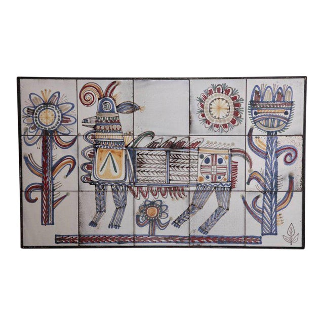 Large Jean Derval Ceramic Tile Wall Panel, France, 1950s For Sale