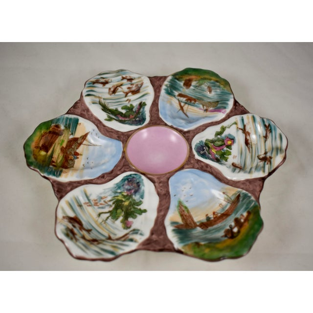 French Porcelain Hand-Painted Fishing Scene Oyster Plate For Sale - Image 4 of 13