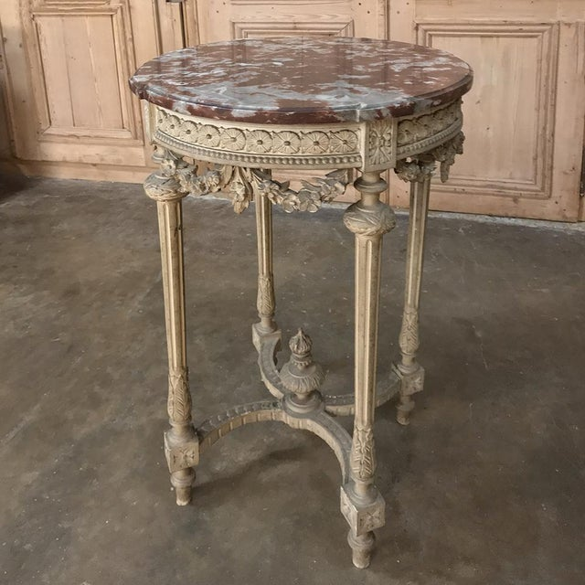 19th Century French Louis XVI Painted Marble Top Lamp Table ~ Gueridon For Sale - Image 4 of 12