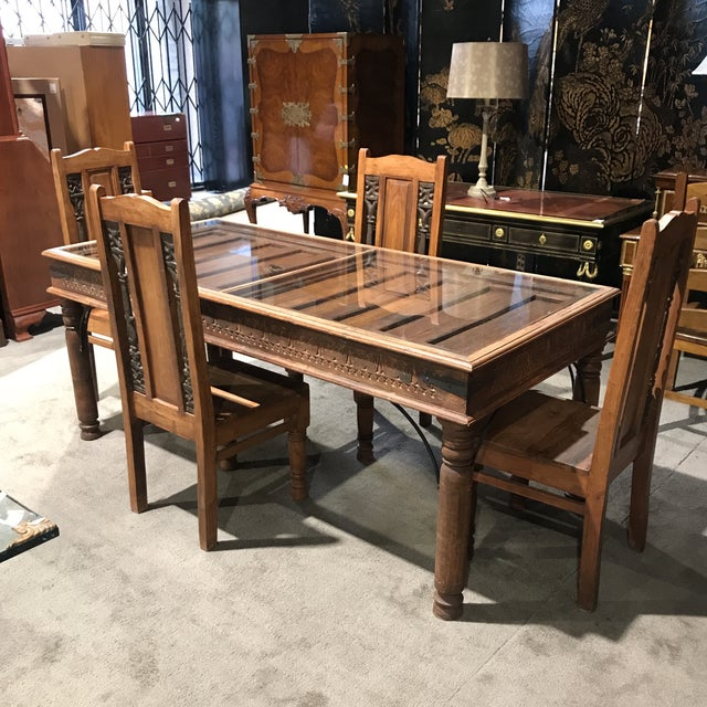 Rustic Antique Door Table & Chairs - Set of 5 - Image 8 of 8