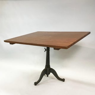 20th Century Industrial Cherry Drafting Table Cast Iron Pedestal Base Preview