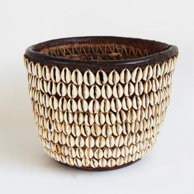 Vintage Nigerian Cowry Shell Basket - Image 2 of 5