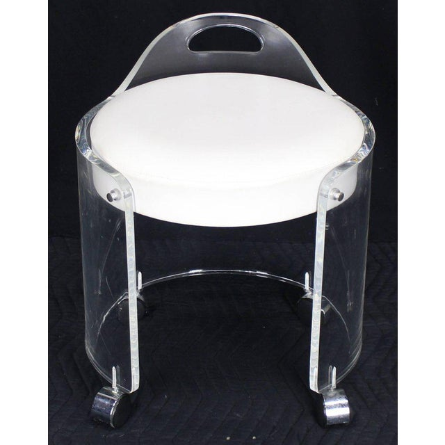 Round Bent Lucite Upholstered Bench Stool on Wheels For Sale - Image 10 of 10