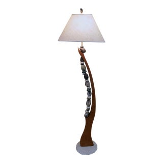 Jan Jacque Artist Made Stone Harp Floor Lamp For Sale