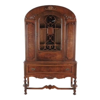 1920s Antique China Cabinet For Sale