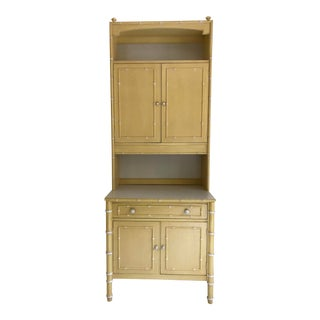 1970s Hollywood Regency Thomasville Faux Bamboo Cabinet and Hutch For Sale