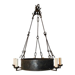 Large French 1920s Wrought Iron Chandelier For Sale