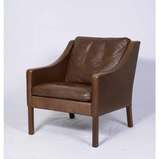 Pair of Borge Mogensen Model #2207 Leather Lounge Chairs - Image 3 of 9