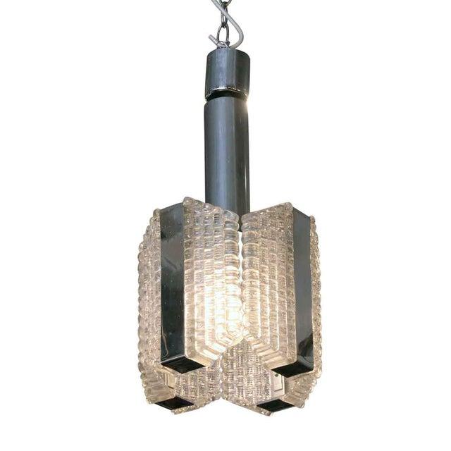 Transparent 1960s Mid-Century Glass Chrome Pendant Light For Sale - Image 8 of 8