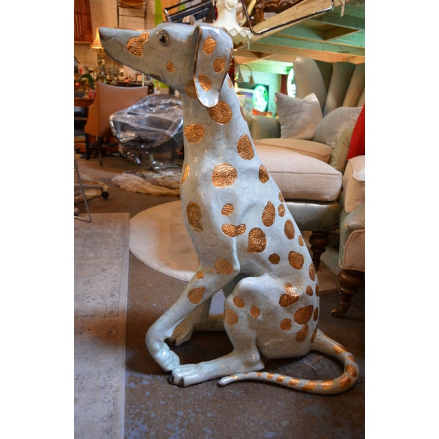 Vintage Life Size Hand Made Glazed Old Lost Wax Bronze Dalmation Statue Can be used Indoor or Outdoors.