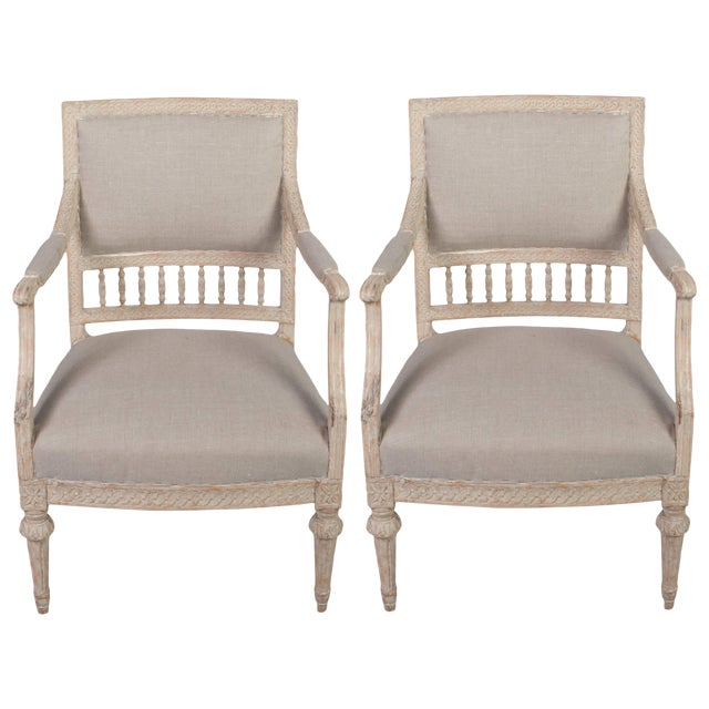 Pair of Gustavian Armchairs With Carved Wood Spindle Decoration For Sale