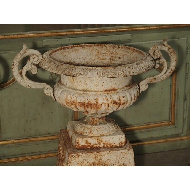 Pair of Antique Cast Iron Vases on Pedestals From Besancon France, Circa 1915 For Sale - Image 11 of 13
