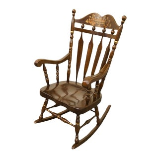 Late 20th Century High End Hitchcock Style Solid Pine Stenciled Rocker For Sale