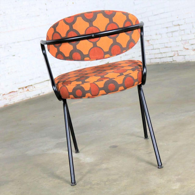 Mid Century Modern Black Bent Steel Tube Armchair With New Orange Upholstery For Sale - Image 6 of 13