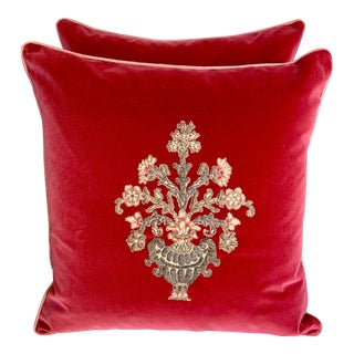 19th C. French Applique Velvet Pillows by Melissa Levinson - a Pair For Sale