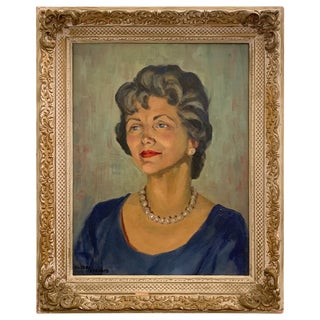 1950s Portrait Painting, Woman With Pearls, Alberta Winchester by Alida Vreeland For Sale