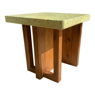 MCM Pistachio Terrazzo + Mahogany Wood End Table For Sale