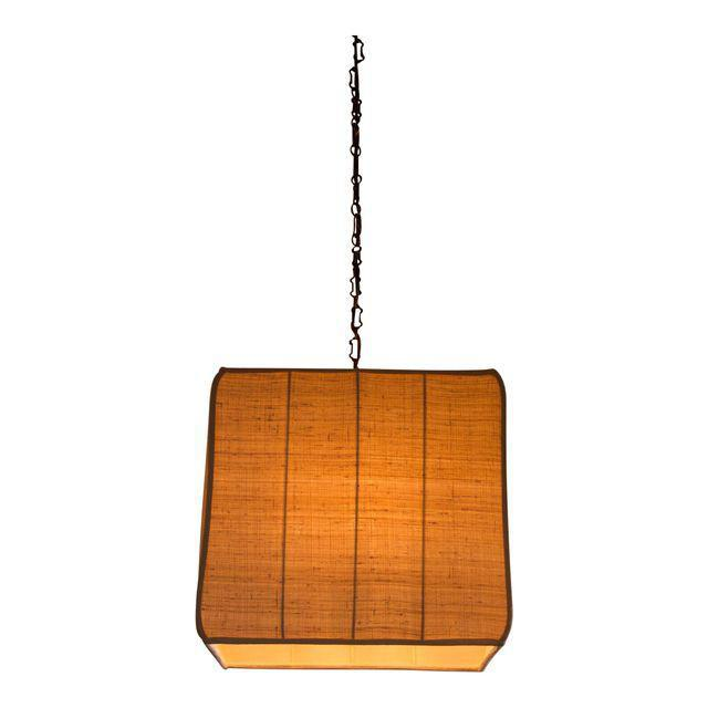 Bronze Paul Marra Asian-Inspired Four Light Shaded Pendant For Sale - Image 7 of 7