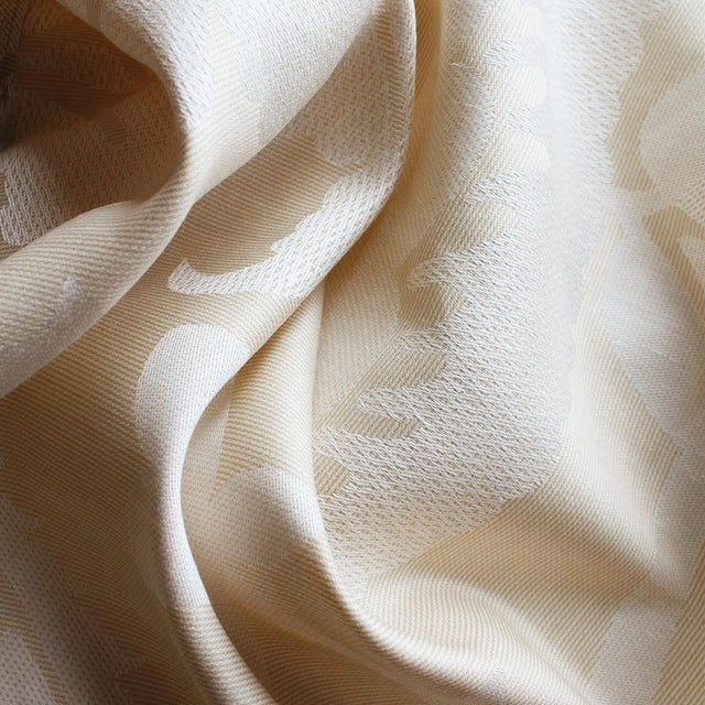 Contemporary Sample, Suzanne Tucker Home Jacqueline Linen Blend Jacquard in Sand For Sale - Image 3 of 4