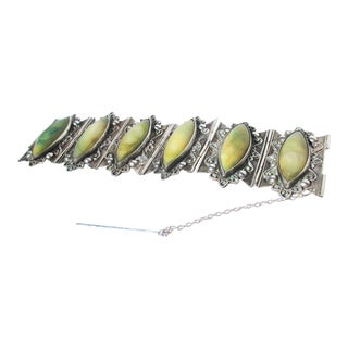 Mexican 980 Silver and Green Agate Bracelet For Sale