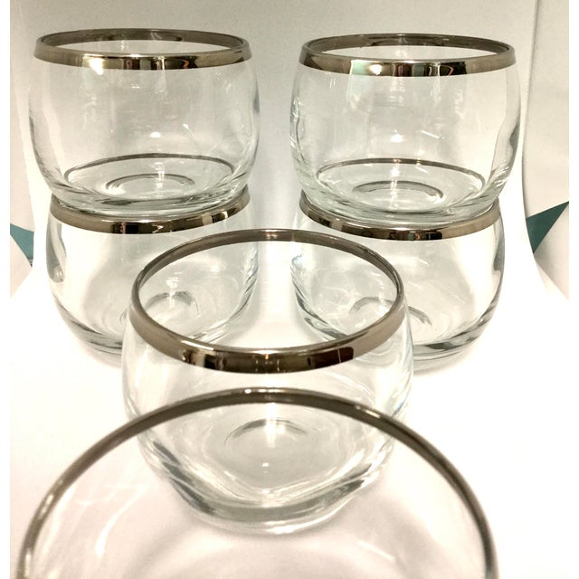 Mid-Century Modern 1960s Dorothy Thorpe Small Highball Silver Rim Glasses - Set of 6 For Sale - Image 3 of 7