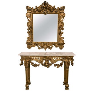 Marble Top Console Table With Matching Mirror by Maison Jansen Finely Carved For Sale