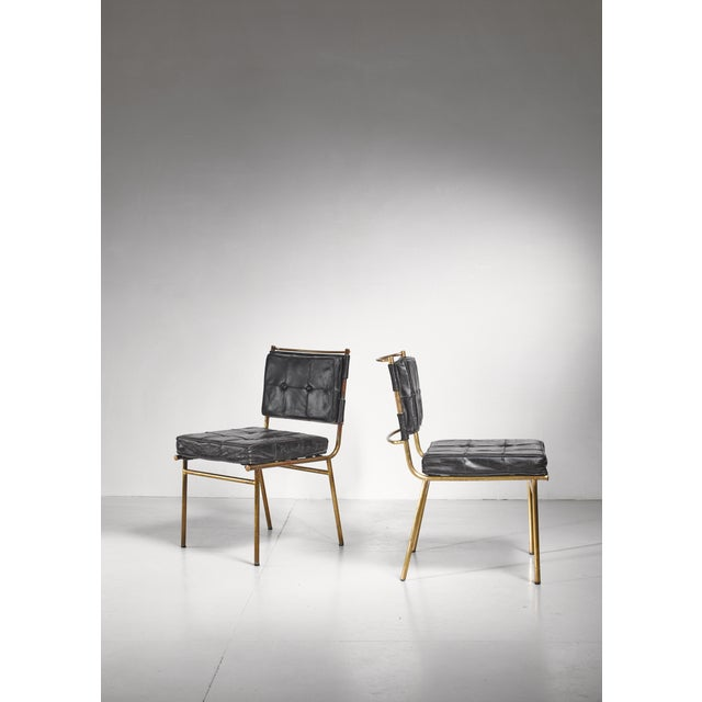 1950s Mathieu Mategot Rare Pair of Brass and Leather Chairs, France For Sale - Image 5 of 8