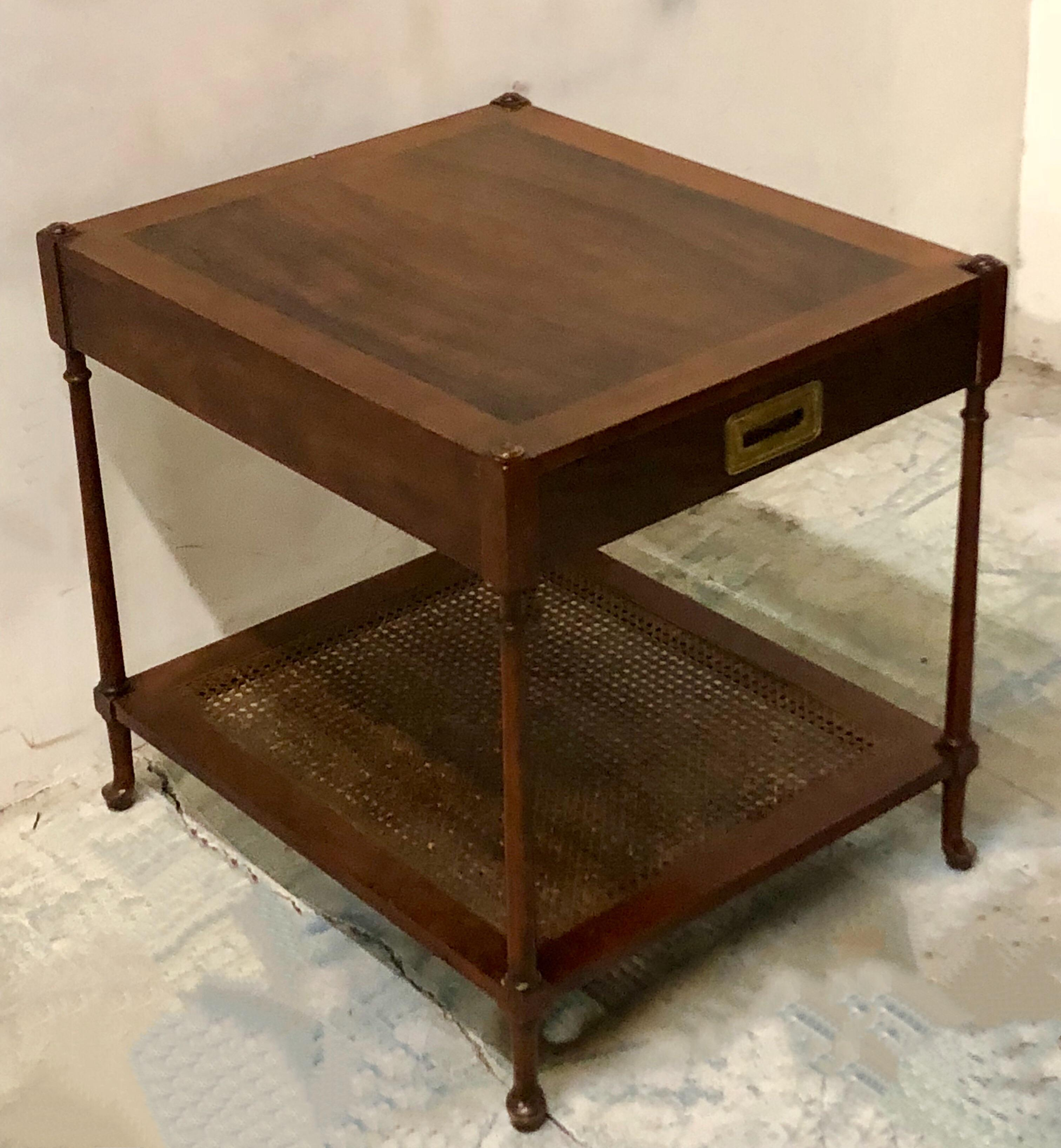 1950s Mahogany Campaign Style End Table For Sale   Image 5 Of 6