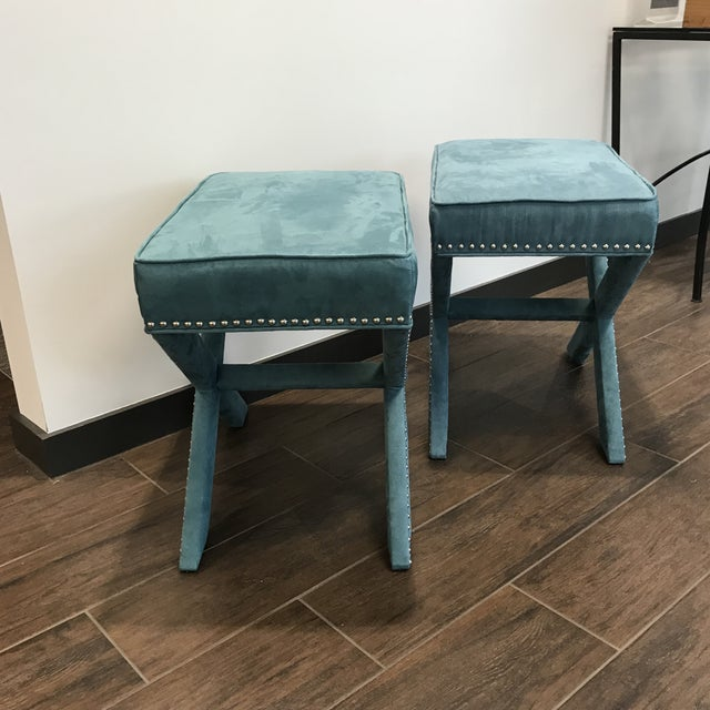 Modern Vintage Teal Velveteen Ottomans - a Pair For Sale - Image 3 of 6