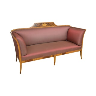 Antique 19th Century Biedermeier Style Inlaid Sofa For Sale