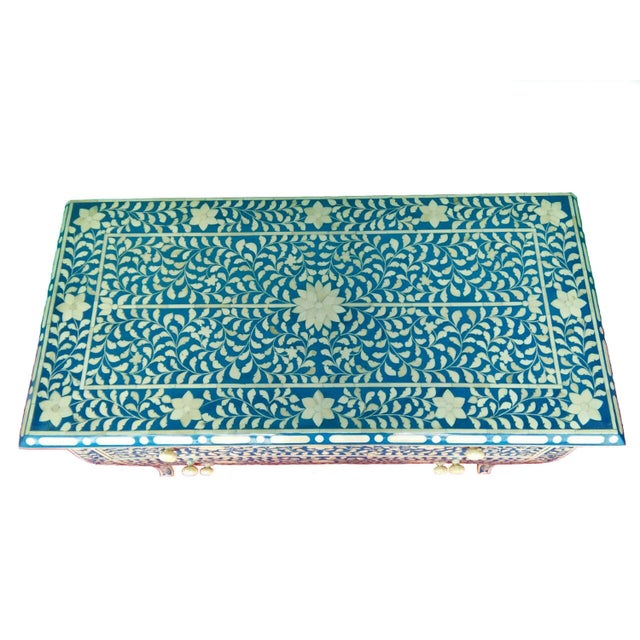 French Style Curved Bone Inlay Blue Chest - Image 4 of 4
