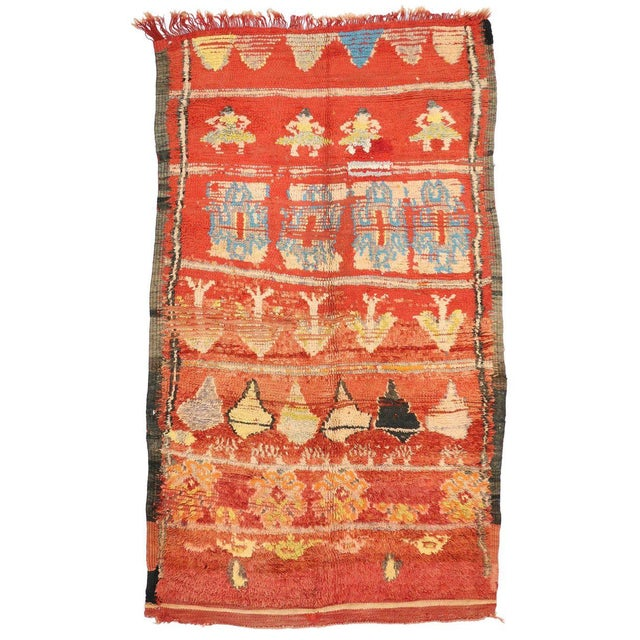 Berber Tribes of Morocco Vintage Berber Moroccan Rug With Tribal Style, 4'10 X 7'10 For Sale - Image 4 of 4