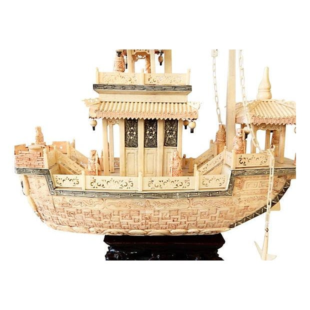 Chinese Carved Bone Boat on Stand - Image 2 of 7