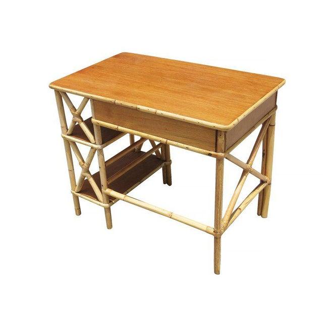 Restored Rattan & Mahogany Secretary Desk With Side Shelf - Image 6 of 8