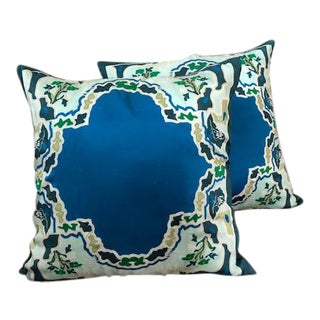 Blue Silk Geisha Pillows- Set of 2