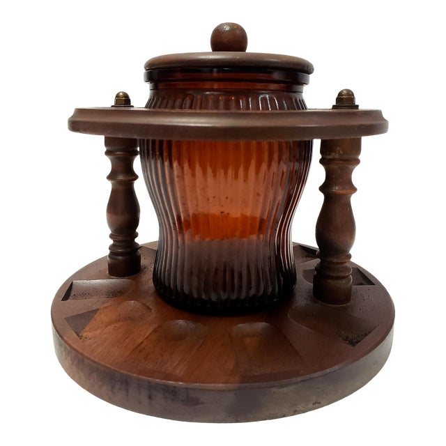 1950s Dun-Rite Walnut Pipe Rack W/ Humidor Tobacco Jar For Sale