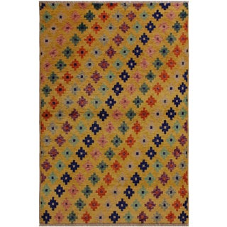 1990s Southwestern Balouchi Constanc Gold/Blue Wool Rug - 3'6 X 4'10 For Sale