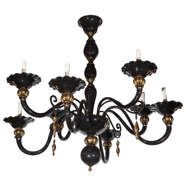 Black and Gold Venetian Chandelier For Sale