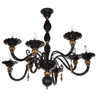 Murano Black and Gold Venetian Chandelier