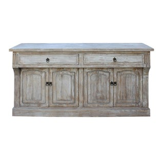 Chinese Distressed Finish High Credenza Console Buffet Table For Sale