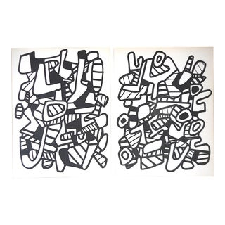 A Pair-Vintage Mid 20th C. Modern Abstract Heliogravures-Jean Dubuffet-Switzerland C.1973 For Sale