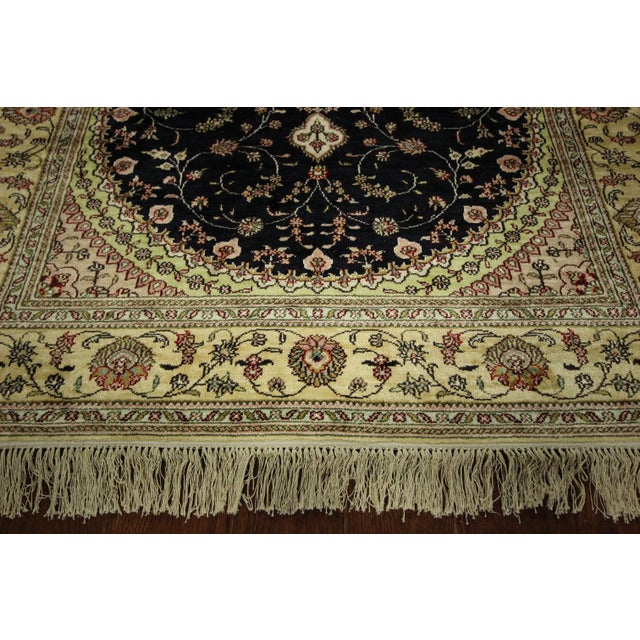 Kashan Silk Midnight Blue-Ivory Rug - 4' x 6' - Image 5 of 8