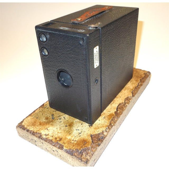 Proposed for your approval is this Kodak 2C Brownie Box Camera on Travertine Base. Circa early 20th century and in...