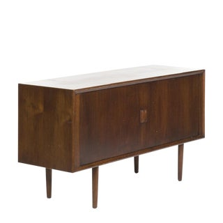 Danish Teak Credenza with Tambour Doors, c. 1950