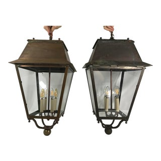 French 19th Century Copper Lanterns a Pair For Sale