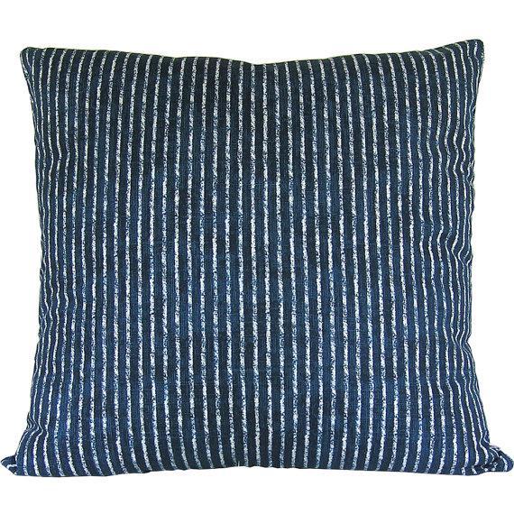 Skyfall Navy Stripe Custom Pillow Cover - Image 2 of 3