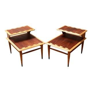 Pair of Mid-Century Modern Lane Acclaim Walnut and Oak Step Tables For Sale