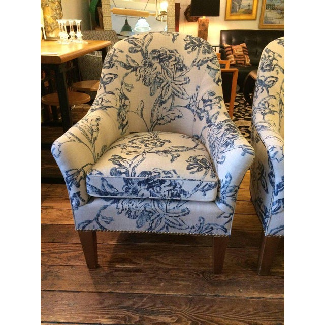 Blue & White Linen Club Chairs - A Pair - Image 6 of 7